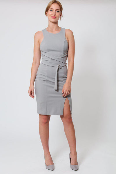 Crossed Straps Waist Grey Bodycon Dress-SinglePrice