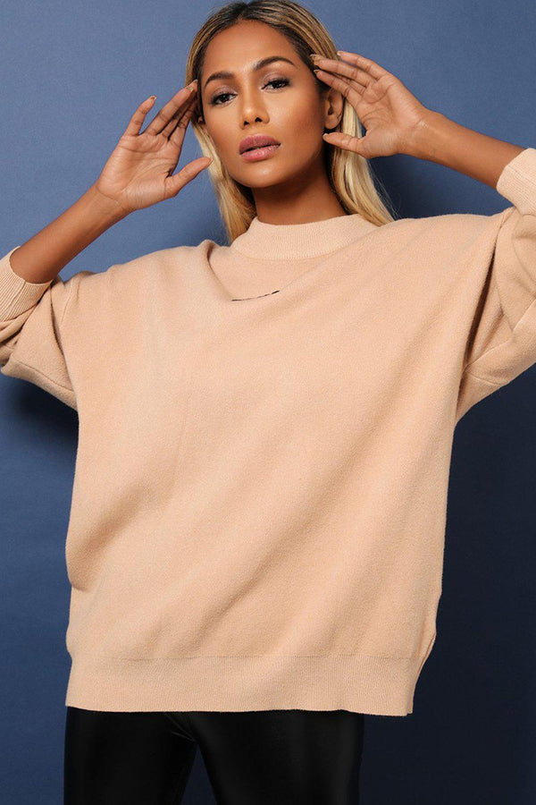 Beige Super-Soft Knit Oversized Embellished Rock'n'Roll Jumper-SinglePrice