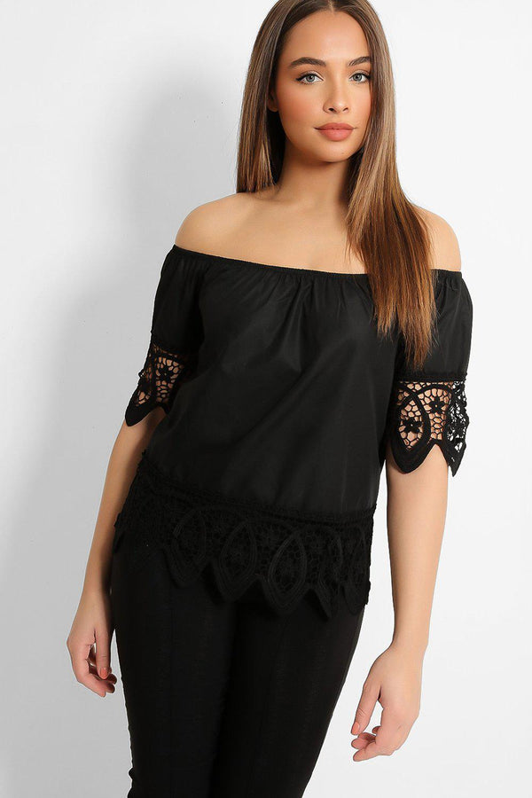 Black Lace Details Off Shoulder Top-SinglePrice