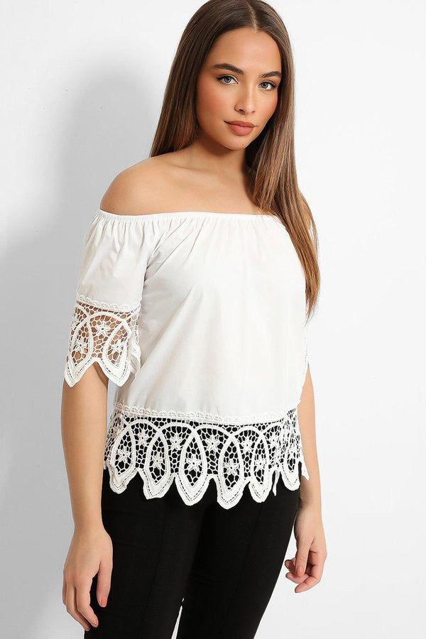 White Lace Details Off Shoulder Top-SinglePrice