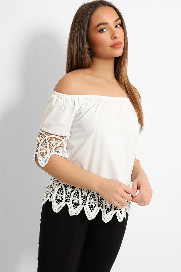 White Lace Details Off Shoulder Top