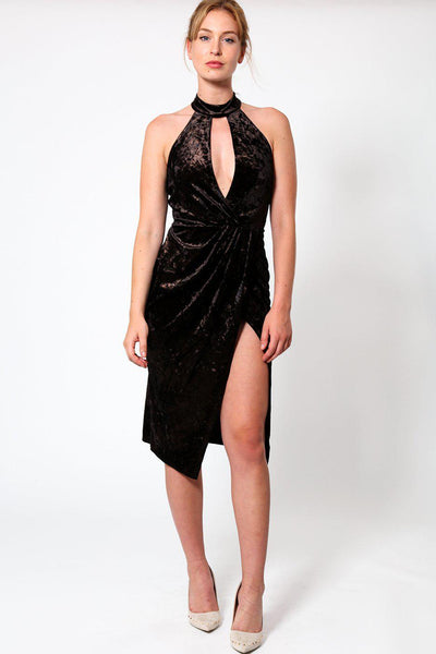 Draped Shimmer Velvet High Leg Dress-SinglePrice