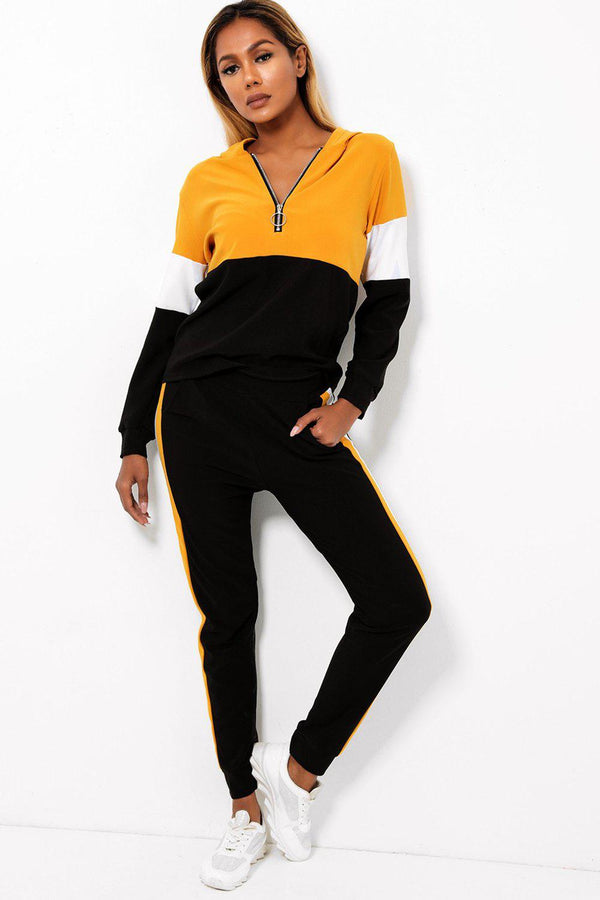 Mustard Colour Block Two Piece Tracksuit - SinglePrice