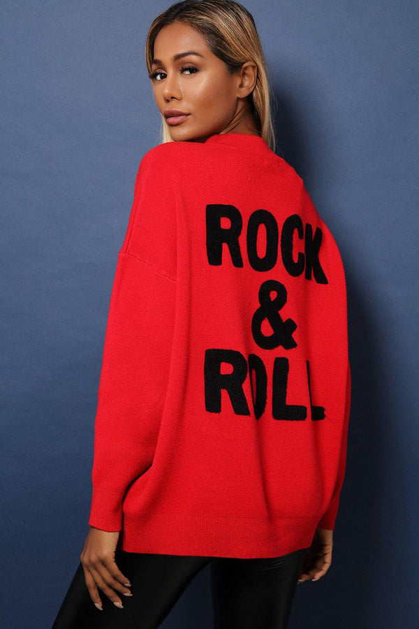 Red Super-Soft Knit Oversized Embellished Rock'n'Roll Jumper-SinglePrice