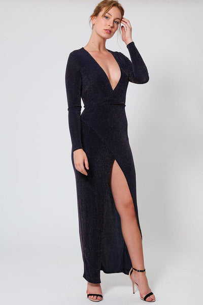 V-Neck High Leg Split Shimmer Maxi Dress-SinglePrice