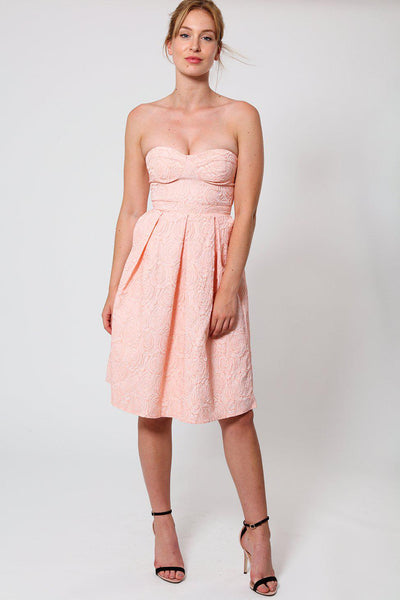 Blush Pink Rose Emboss Sweetheart Dress-SinglePrice