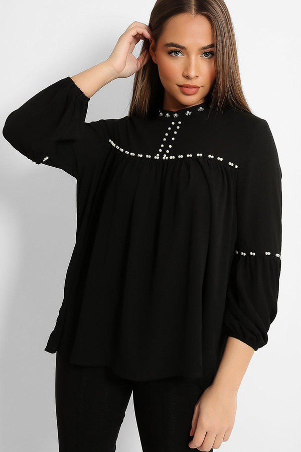 Black Pearls Embellished High Neck Smock Blouse