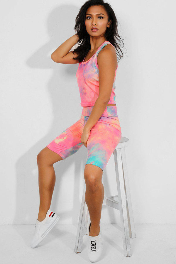 Coral Tie Dye Crop Vest And Cycling Shorts Set - SinglePrice