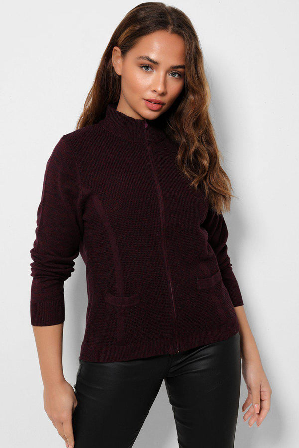 Zipped Front High Neck Burgundy Cardigan-SinglePrice