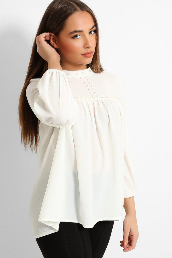 Cream Pearls Embellished High Neck Smock Blouse
