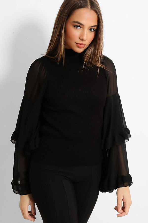 Black Layered Extreme Flute Sleeves Top