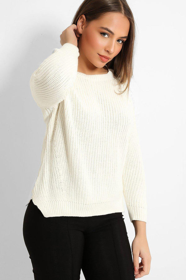 Cream Lace Panels Rib Knit Pullover