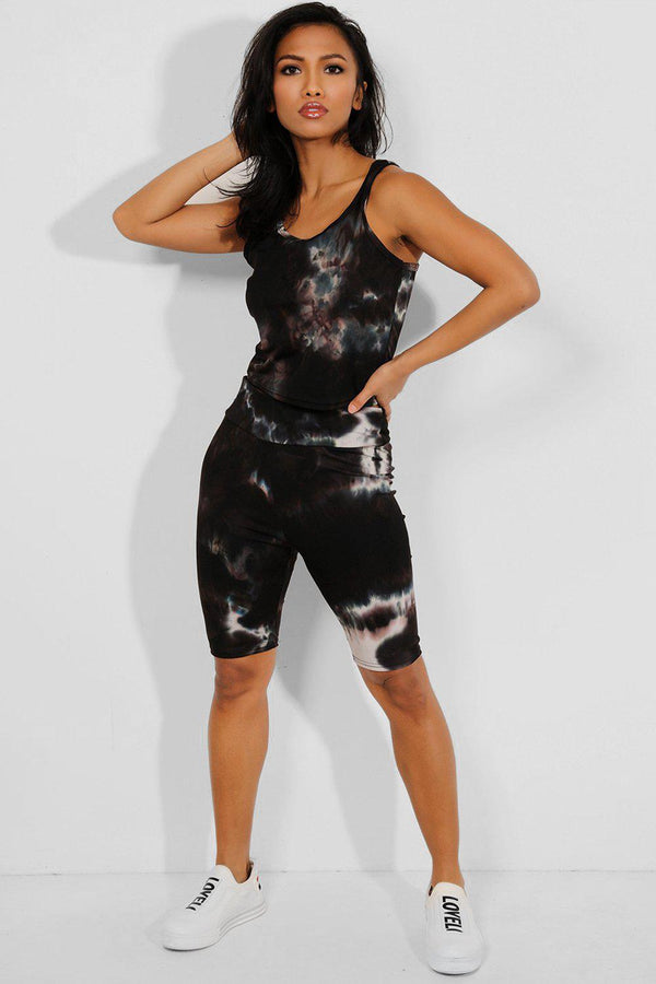 Black Tie Dye Crop Vest And Cycling Shorts Set - SinglePrice