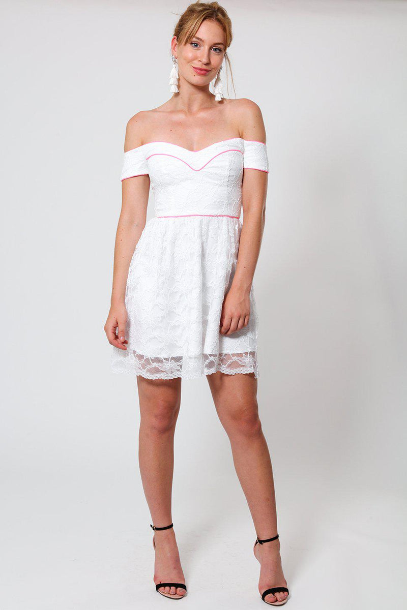 Pink Pipping White Lace Sweetheart Dress - SinglePrice