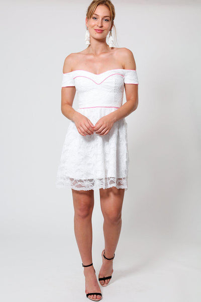 Pink Pipping White Lace Sweetheart Dress-SinglePrice