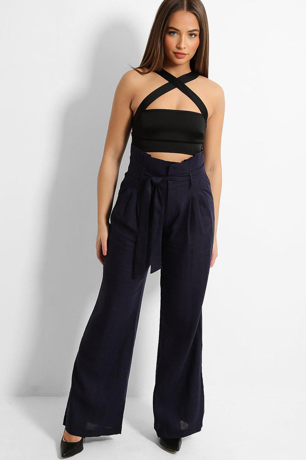 Navy Paperbag Waist Linen Blend Wide Leg Trousers