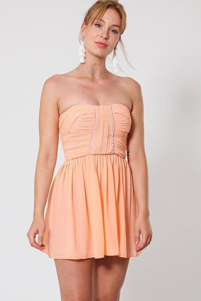 Pink Trim Light Orange Bandeau Dress-SinglePrice