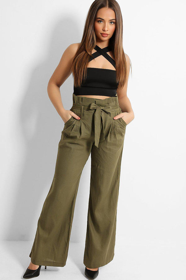 Khaki Paperbag Waist Linen Blend Wide Leg Trousers
