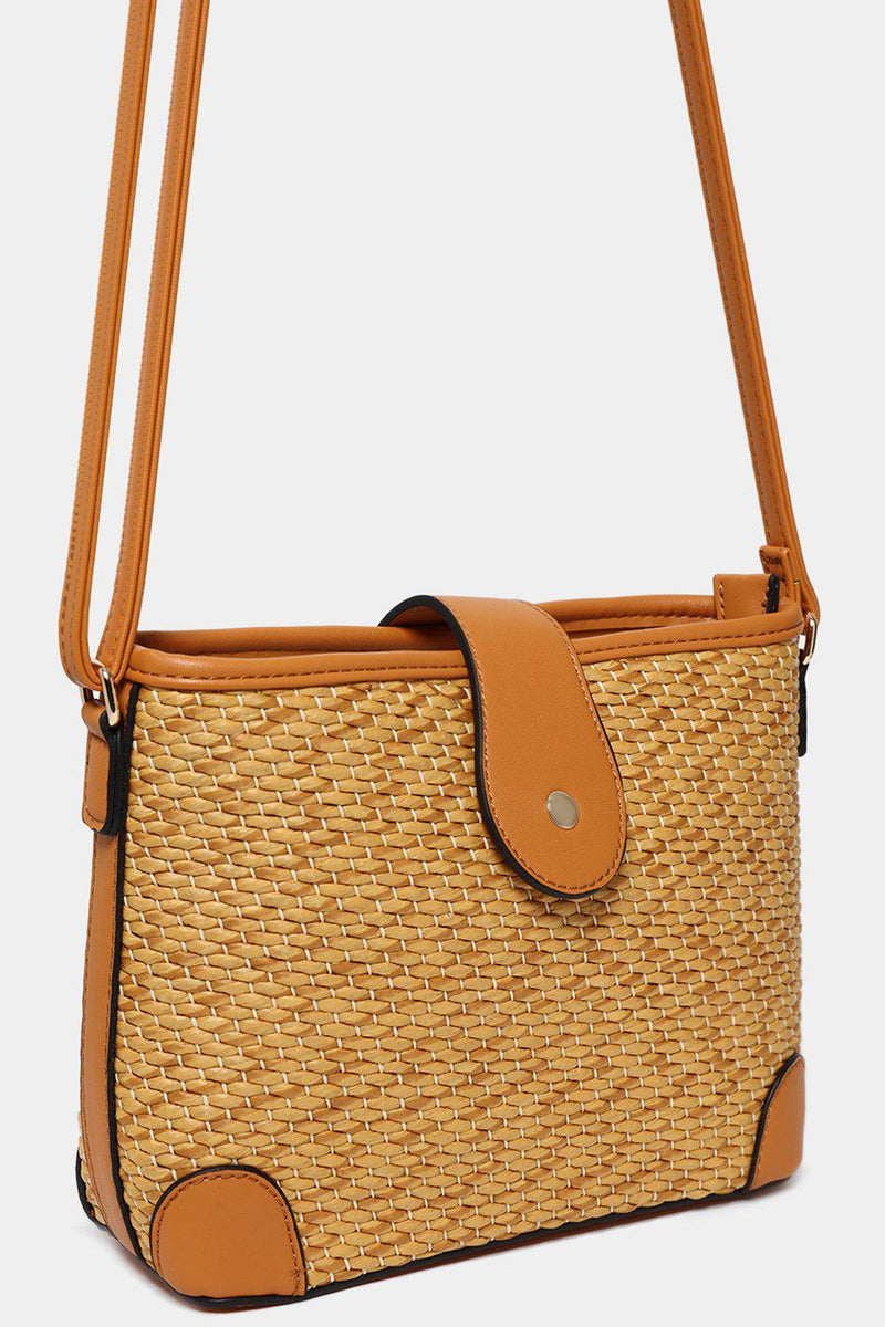 Brown Faux Straw Crossbody Bag - SinglePrice