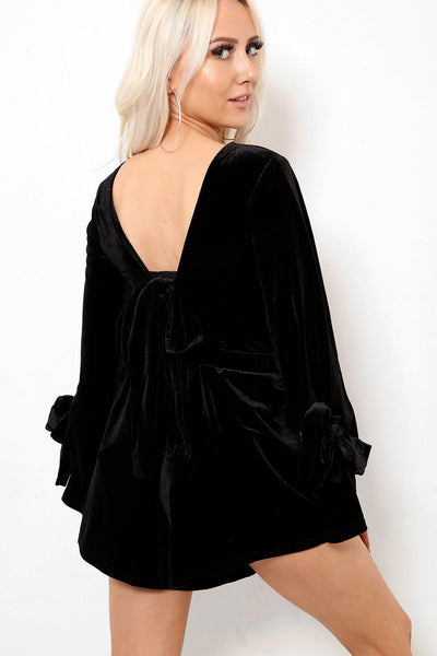 Open Back Bow Details Black Velvet Playsuit-SinglePrice