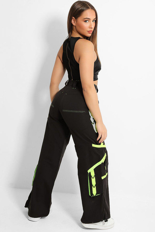 Lime Stripe Details Wide Leg Drawstring Trousers-SinglePrice