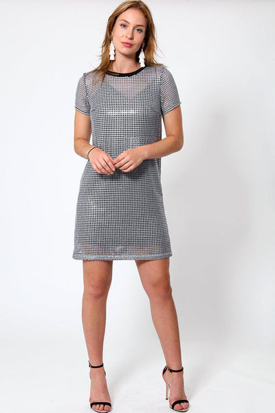 Silver Sequin Shift Dress-SinglePrice