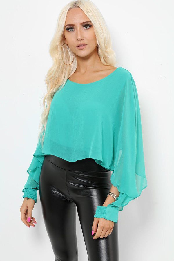 Open Sleeves Green Blouse-SinglePrice