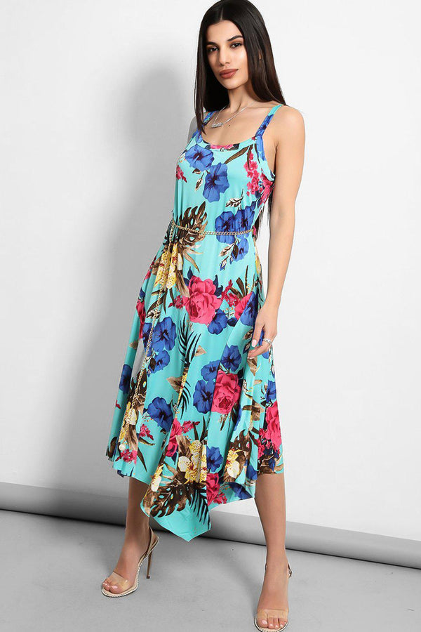 Aqua Floral Chain Belt Slinky Handkerchief Dress - SinglePrice