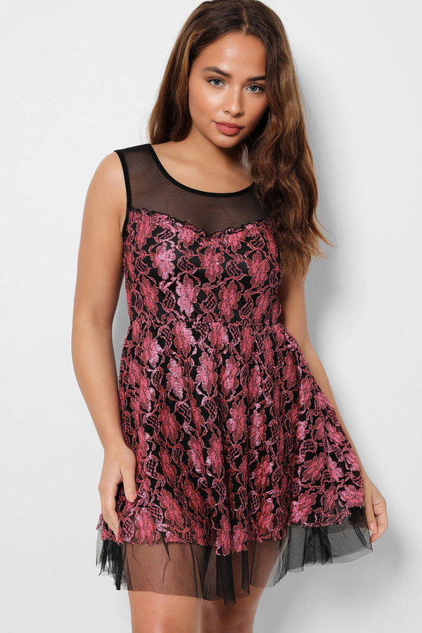 Pink Embroidery Lace Tull Dress-SinglePrice