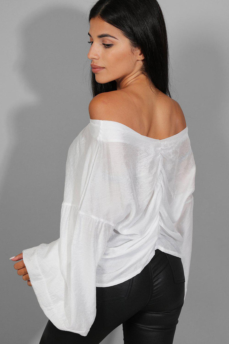 White Ruched Front Volume Sleeves Top - SinglePrice