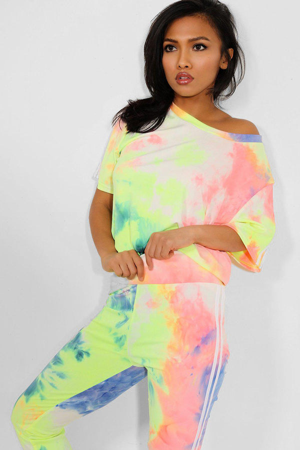Yellow Twin Side Stripe Tie Dye Leggings And T-Shirt Set - SinglePrice