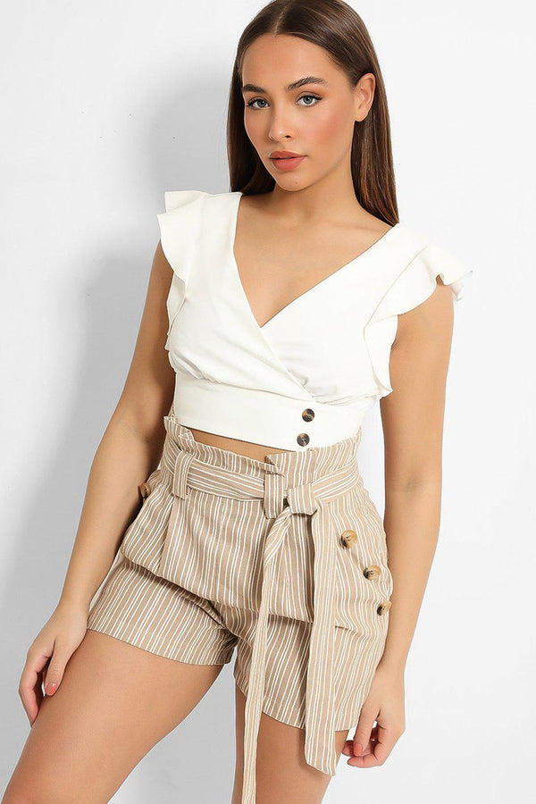 Beige Stripy Paper-bag Button Details Waist Shorts