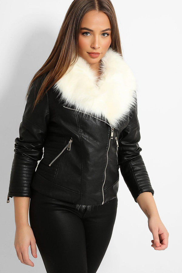 Cream Faux Fur Collar Back Vegan Leather Biker Jacket