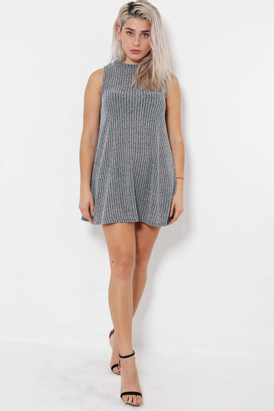 High Neck Sleeveless Grey Shift Dress-SinglePrice