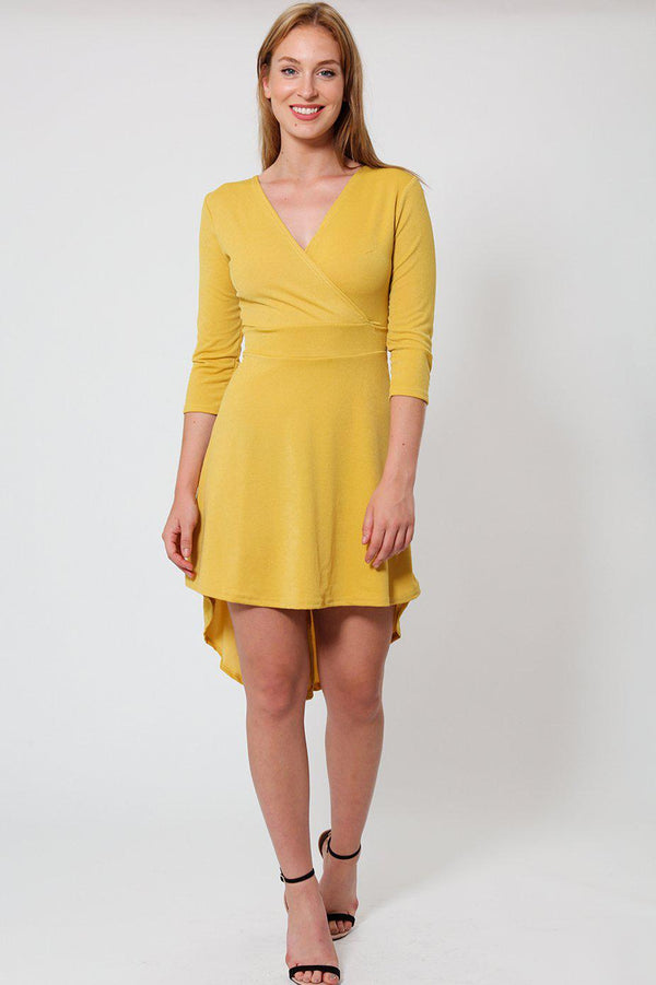 Mustard Mini Wrap Dress - SinglePrice