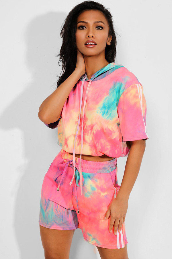 Coral Tie Dye Hooded Crop Top And Shorts Set - SinglePrice