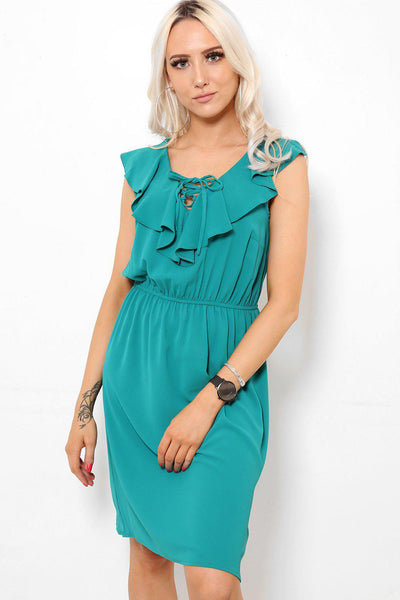 Laced Up Frilled Neckline Green Day Dress-SinglePrice