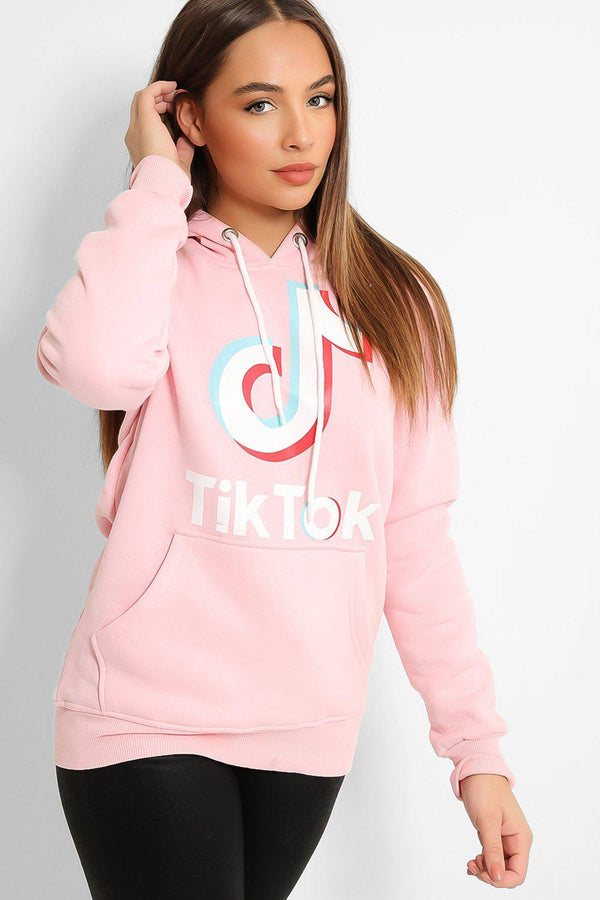 Pink Musical Note Print Hooded Sweatshirt - SinglePrice