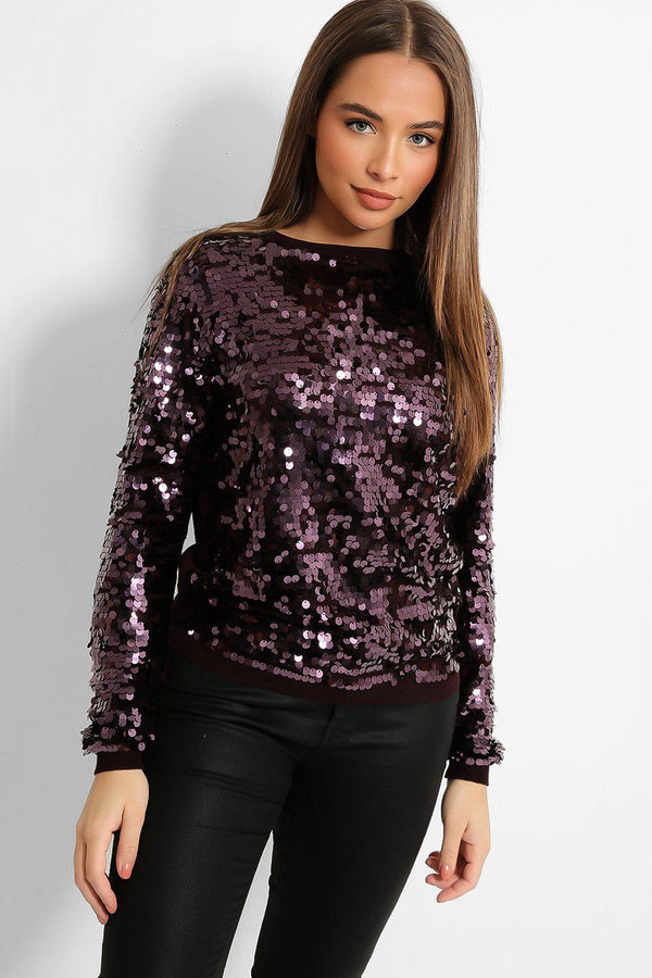 Purple Sequins Embellished Pullover