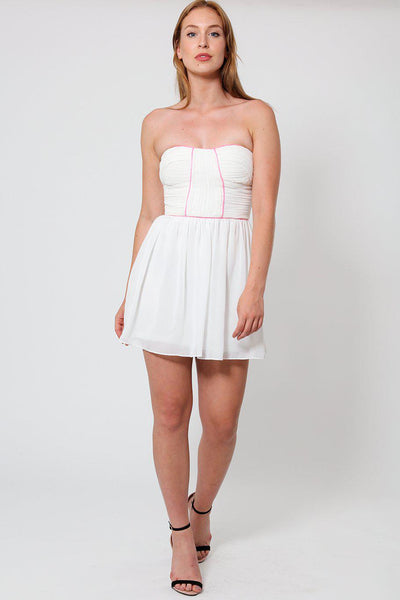 Pink Trim White Bandeau Dress-SinglePrice