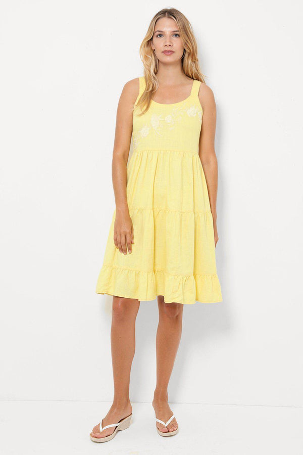 Yellow Embroidered Tiered Midi Dress-SinglePrice