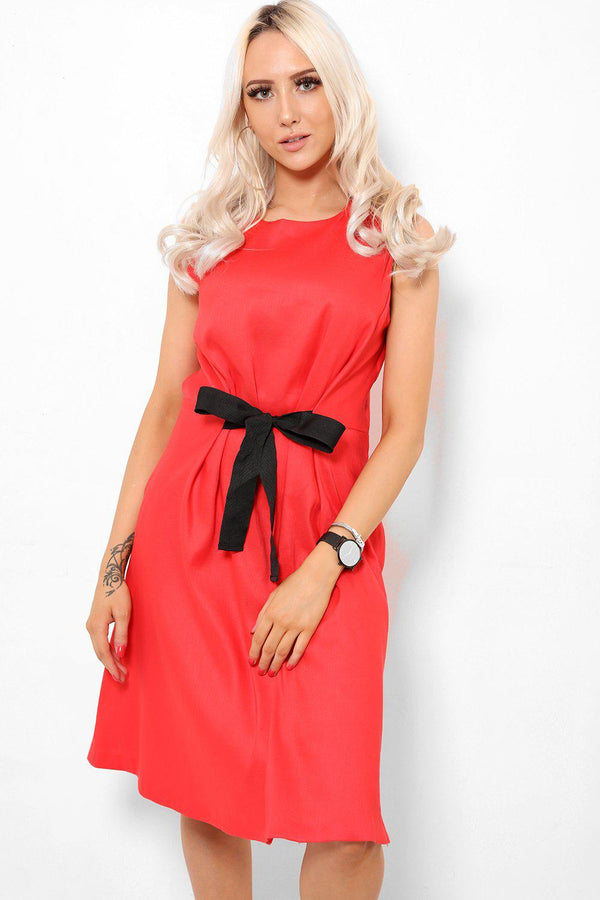 Front Tie Red A-Line Dress-SinglePrice