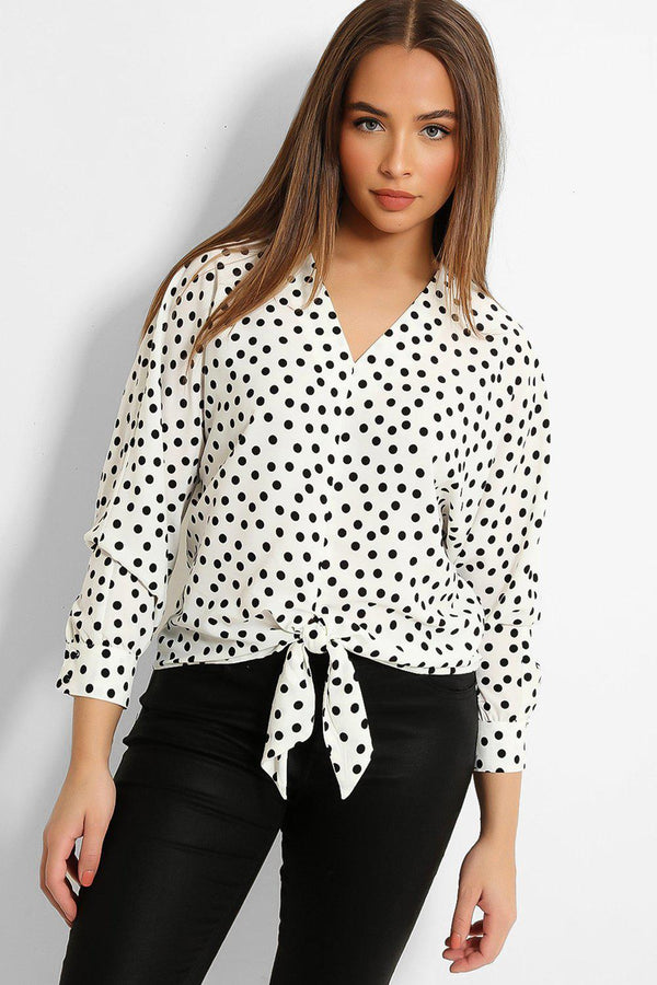 White Polka Dot Front Tie Blouse