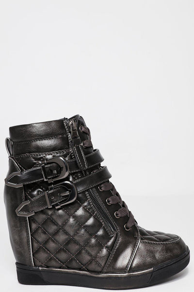 Hidden Wedge Quilted Black Hardware Dark Silver Boots-SinglePrice