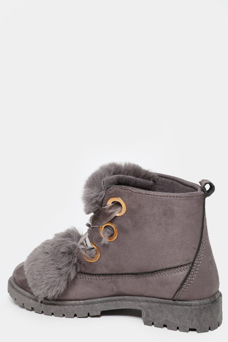Faux Fur Detail Gold Eyelets Grey Boots - SinglePrice