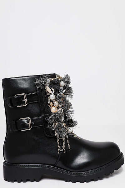 Black Embellished Tall Boots-SinglePrice