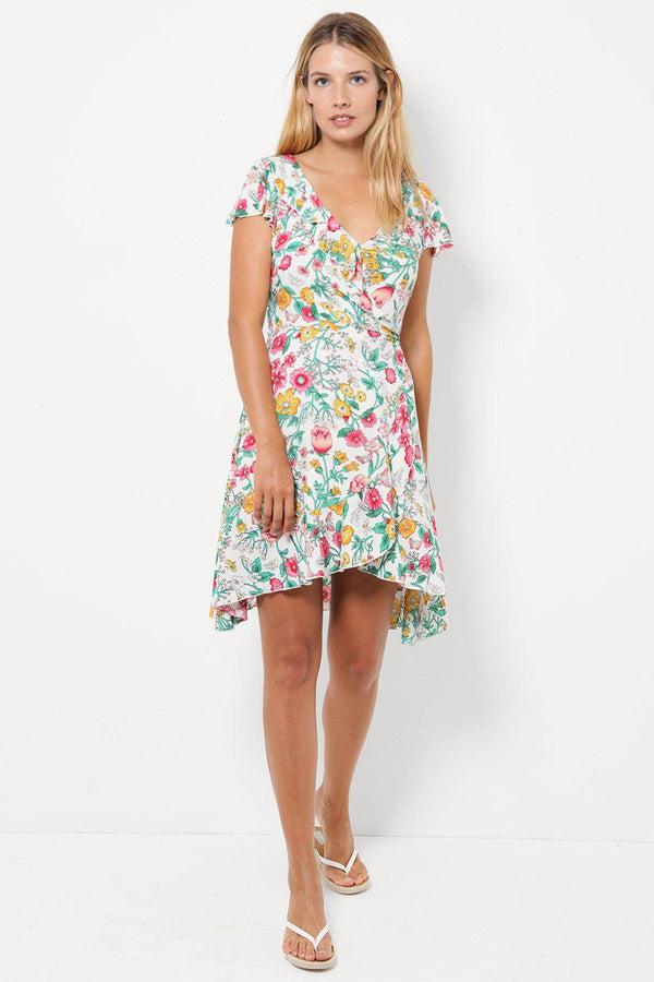 White Floral Wrap Dress-SinglePrice