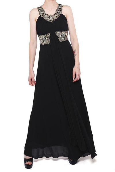 Black Jewelled Details Chiffon Maxi Dress-SinglePrice