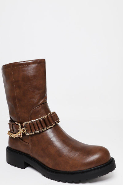Gold Chain Strap Brown Boots-SinglePrice