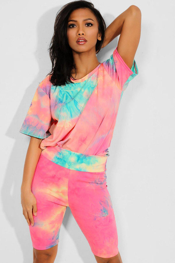 Coral Tie Dye T-Shirt And Cycling Shorts Set - SinglePrice